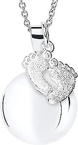 MAMIJUX® Chiama Angeli con Ciondolo a Forma di Piedini e Catenina in Acciaio Lunga 110cm