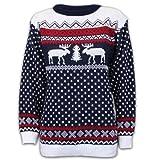 Pullover Damen Herren Weihnachten Strickpullover mit Rentier Retro Sweater MFDEER - Marineblau - Weiß, XXL