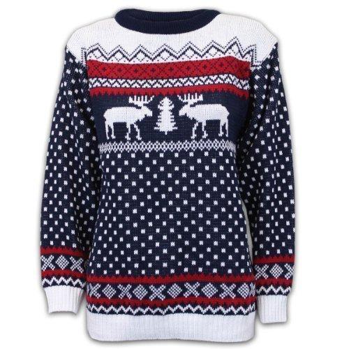 *Pullover Damen Herren Weihnachten Strickpullover mit Rentier Retro Sweater MFDEER – Marineblau – Weiß, XXL*