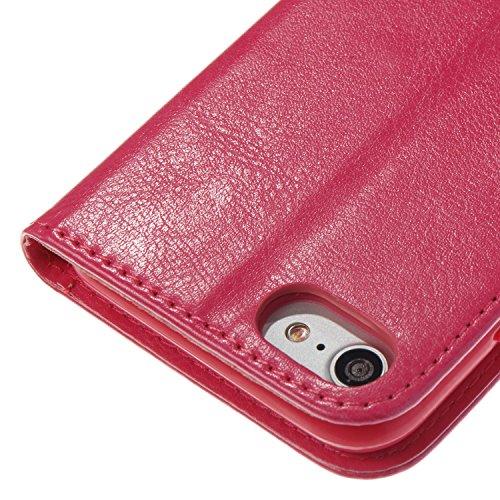 EUWLY Dipinto Leather Portafoglio Custodia per iPhone 7/iPhone 8 (4.7) Retro Wallet Custodia Cover in PU Pelle Bello Farfalla Fiore di Narciso Modello Colorato Shell Case Polvere Flash Bling Glitter  Rosa Caldo