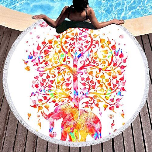 MENGMENGDA Tapiz Redondo Blanco Toalla De Playa Estampado De Elefantes En Color...
