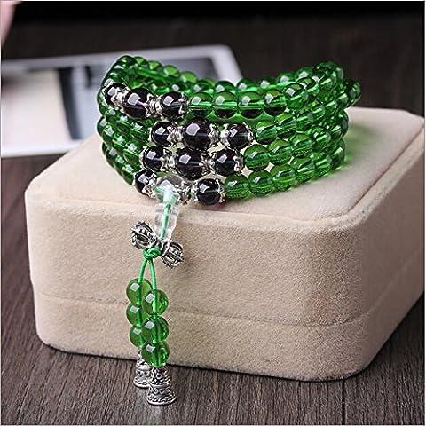 XJoel Bracciale 108 grani di guarigione della pietra preziosa la meditazione Mala collana Malas di preghiera borda il braccialetto verde viola - Pietra E Chiave Collana