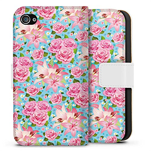 Apple iPhone X Silikon Hülle Case Schutzhülle Rosen Frühling Flower Sideflip Tasche weiß