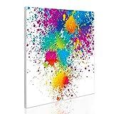 BANJADO Design Magnettafel | magnetische Pinnwand weiß | Metall Memoboard 50cm x 50cm mit Motiv Farbspritzer