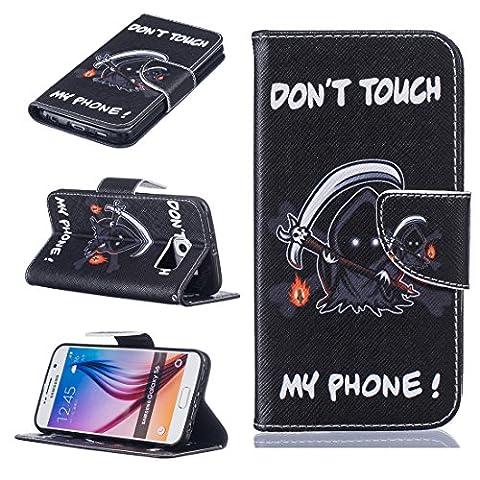 Nancen Samsung Galaxy S6 / G9200 (5,1 Zoll) Premium Leder Flip Handyhülle / Wallet Case, Blumen Landschaften Tiere und Bunt Printed Muster - Bookstyle Cover Schutzhülle mit Standfunktion, Brieftasche und Karte