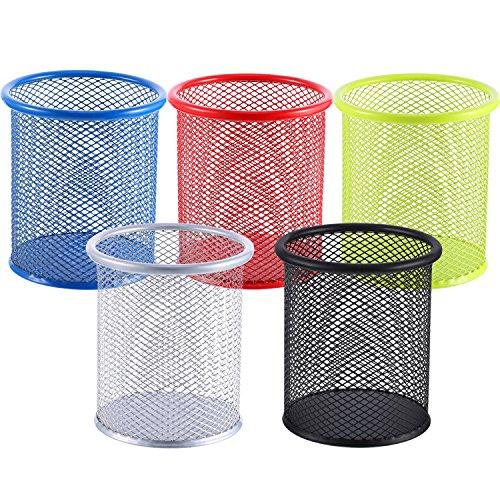 5 pezzi portapenne a maglia in metallo portamatite di tazza penna organizer matita astuccio per scrivania ufficio e scuola, 5 colori