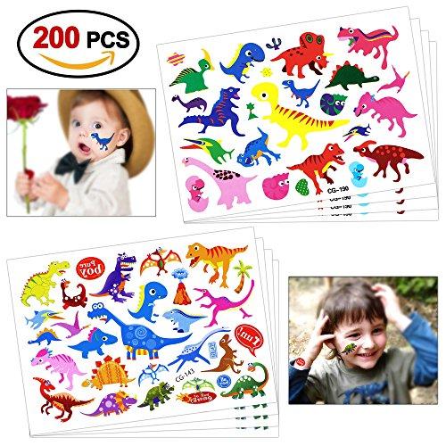 Konsait 200pcs dinosauro tatuaggi temporanei per bambini, finti tatuaggi tattoos adesivi dinosauro giocattolo per bambini festa di compleanno bomboniera ragazze bambine sacchetti regalo