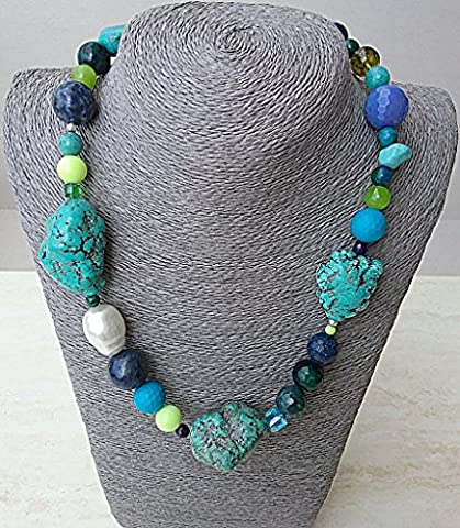 Mixed blue and green mineral and white shell pearl handcrafted necklace from Spain