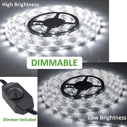 comprare on line Ustellar Dimmerabile Striscia Flessibile a LED 5M Kit, 300 SMD, Alimentatore incluso Flessibile Luce Bianco Diurna Decorazione interna, Non-impermeabile prezzo