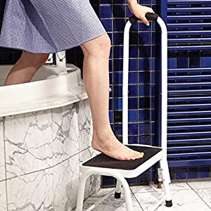 Safety Step Stool Non-Slip Bath Kitchen Support Mobility Aid Portable Handrail