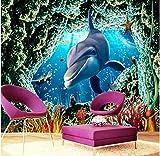 Rureng Personalized Three-Dimensional 3D Large Murals Underwater World Marine Fish Wallpaper Theme Room Tv Wallpaper-280X200Cm
