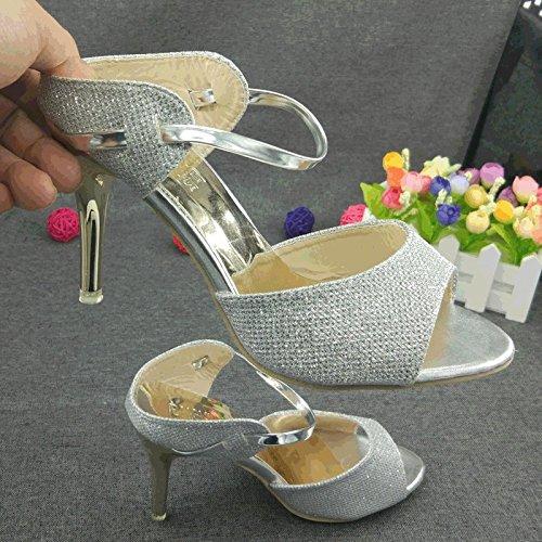 ZYUSHIZ Die High-Heel Schuhe der Feinen mit Frau im Freien verlegt Lady Sandalen Hausschuhe 36EU