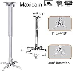 Maxicom Heavy Duty - 3 feet Projector Ceiling Mount Bracket - White ( Weight Capacity - 15kgs )
