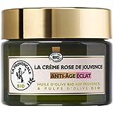 La Provençale Bio - Crème Rose de Jouvence Anti-Âge Éclat Certifié Bio - Huile d'Olive Bio AOP Provence - Pour Tous Types de