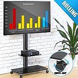FITUEYES Soporte Móvil de TV de 32 a 65 Pulgadas con 2 Estantes Soporte Giratorio de Suelo para TV LCD LED OLED Plasma Plano Curvo TT206503GB