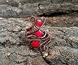 WIRE Kupferring 3 rote Porzellanherzen, Draht gewickelt Schmuck handgefertigt, einzigartiges Geschenk für Frauen