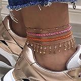Ushiny Boho Crystal Weave Cavigliera Stella d'oro Perline Corda Braccialetto alla caviglia Strass Cavigliere Spiaggia estiva