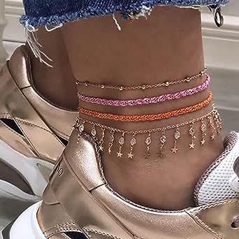 Ushiny Boho Crystal Weave Cavigliera Stella d'oro Perline Corda Braccialetto alla caviglia Strass Cavigliere Spiaggia estiva Perline Catena del piede Accessori gioielli per donne e ragazze