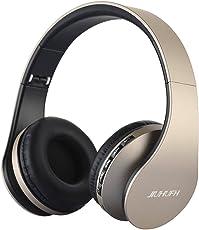 Auricolare wireless Cuffia, Bluetooth Cuffia pieghevole JIUHUFH con Microfono incorporato/Lettore MP3/Radio FM/Auricolari comodi, Supporta la modalità di chiamata a mani libere/PC/Cellulare-Oro