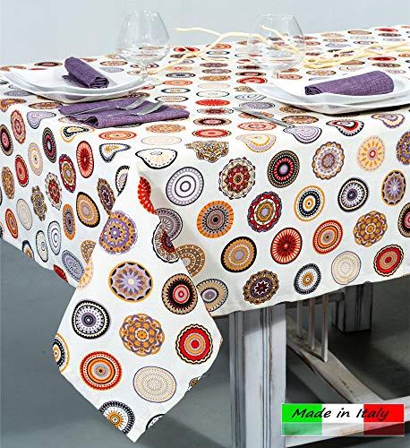 Angelsartory tovaglia copritavolo 140x180cm made in italy moderno design primavera estate tovaglie rettangolare anti stiro cotone poliestere tessuto fantasia da tavolo cucina soggiorno moderne emma