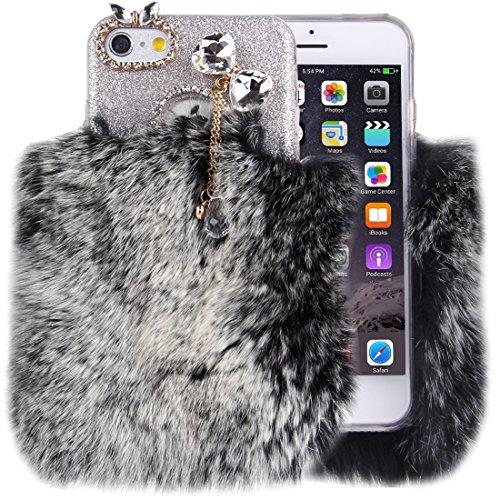 iPhone Case Cover Pour iPhone 6 Plus & 6s Plus véritable lapin cheveux diamant incrusté Flash Poudre Soft TPU étui de protection ( SKU : Ip6p0591h ) Ip6p0591h
