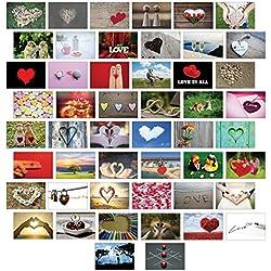 Postkarten Liebe 50 Set, alles verschiedene Motive/Liebe / Herzen/Hochzeit