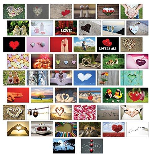 Postkarten Liebe 50 Set, alles verschiedene Motive / Liebe / Herzen / Hochzeit
