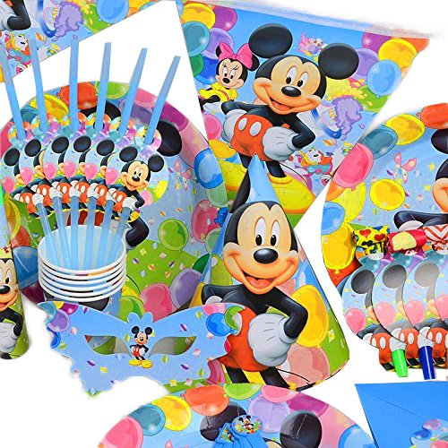 Disney 's Mickey Maus – Geburtstag Hochzeit Party Dekoration Geschirr Cartoon 16 Pack Kit von trimmen Shop (hellblau) (Disney Mickey Mouse Scene Setter Dekoration Set)