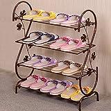 LJHA Simple Multi-couche Fer Art Shoe Rack / Ménage Dortoir Salle Économique Étagère / Creative Porte Stockage Rack / Shoebox (3 Couleurs Disponibles) Meubles à chaussures ( Couleur : Marron , taille : 63*74cm )