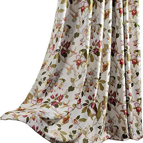 Koting oscurante fiore tende per camera da letto–2pannelli rosso floreale giallo uccelli tende occhiello/occhiello 213,4cm goccia, tessuto, grommet top, 2panels(42wx84l)