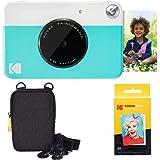 KODAK: Paquete básico de cámara instantánea Printomatic (Azul) + Papel Zink (20 Hojas) + Funda cómoda