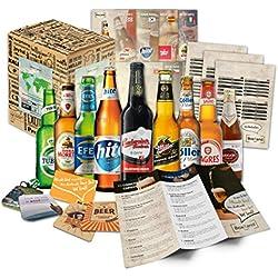 """""""CERVEZAS DEL MUNDO"""" Selección de las 9 cervezas más exclusivas del mundo. Paquete de degustación. Excelente idea de regalo para hombres jóvenes y adultos."""