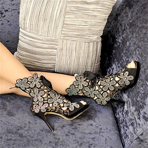 ALUK- L'Europe et les États-Unis - la bouche des poissons fine avec des chaussures de banquet sexy ( Couleur : Noir , taille : 37 ) Noir