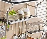 LI JING SHOP - 304 acciaio inox Forno a microonde / cremagliera da cucina, cucina Appendiabiti a muro Mensola a ciotola Portaoggetti, Dimensioni: 58 * 24 * 38CM ( Colore : #002 )