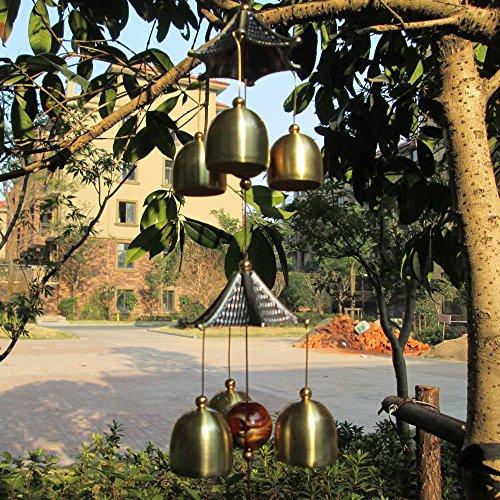 Chinesische Windspiel 2-Schicht Dach 6 Glocken Glück Feng-Shui Garten Dekor - 4