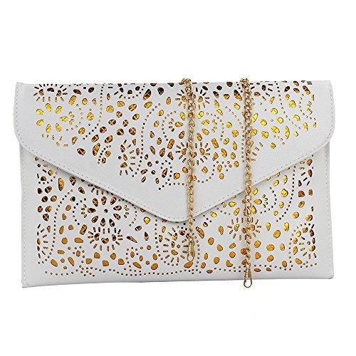 Imentha Damen Envelope Clutch PU-Leder Abendtasche Aushöhlen Design mit gold chain Schulterriehmen Damen Tasche Handtasche Umhängetasche (Weiß) (Gold-leder-abendtasche)