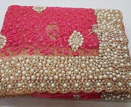 Heavy stone and pearl net saree