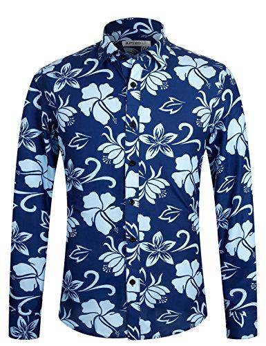 APTRO Hemd Herren Baumwolle Hemd Langarm Hemd Blumen Mehrfarbig Shirt 1029 XXXL