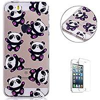 iPhone 5/5S/SE Funda Caso de dibujos animados, KaseHom claro cristal TPU tapa suave prueba de parachoques Slim protector Shell Lovely Panda de diseño + [protector de pantalla libre]