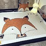 Kinder Spielmatte Baumwolle Stoff Teppich Antirutsch Fuchs Matte 145*195cm