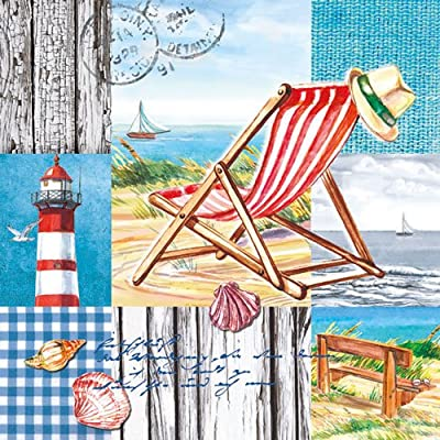 Ambiente 3 Ply Paper Napkins, Beach Chair produced by Ambiente - Luxury Paper Products - quick delivery from UK.