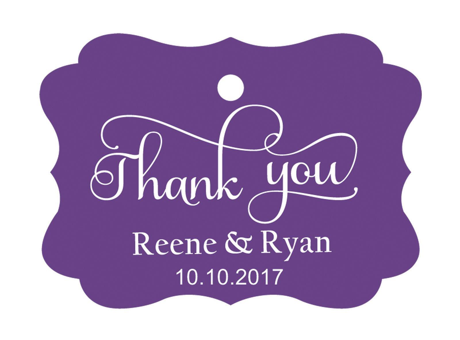 100pcs Thank You custom made cartellini personalizzato matrimonio carta regalo Tag Purple