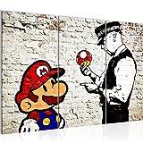 Bilder Mario and Cop Banksy Ziegel Mauer Wandbild 120 x 80 cm Vlies - Leinwand Bild XXL Format Wandbilder Wohnzimmer Wohnung Deko Kunstdrucke Gelb 3 Teilig - Fertig zum Aufhängen 303031a
