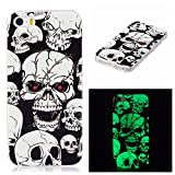 Coque iPhone 5S, Coque iPhone SE,Coque iPhone 5, BONROY® iPhone SE 5S 5 Housse Luminous Effect Noctilucent Green Glow in the Dark Ultra Mince Souple Gel TPU Bumper Poussiere Resistance Anti-Scratch Coque Housse Pour iPhone SE 5S 5 - Crâne des yeux rouges