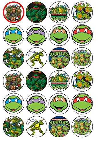 nja Turtles Edible Wafer Paper Cup Cake Toppers by CakeThat ()