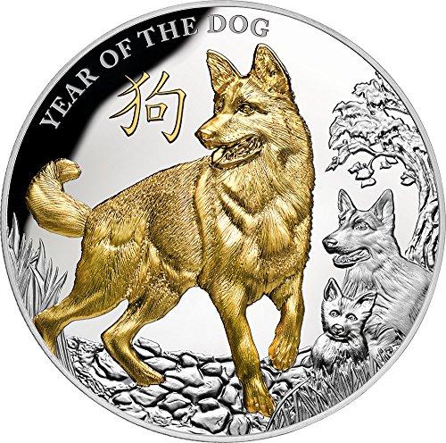 YEAR OF THE DOG Lunar 5 Oz Silver Coin 8$ Niue 2018 (Silber Münzen 5 Oz)