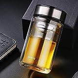 Qileyin 320ml Thermo à double paroi en verre Infuseur à thé Bouteille d'eau clair Thermos Thumbler, parfait pour boire du thé en vrac, thé glacé ou INFUSION Saveur dans l'eau Gybl046 acier