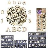 Lettere maiuscole e minuscole in legno, numeri in legno per progetti artistici fai da te, decorazioni, espositori fai da te per matrimoni (62 pezzi)