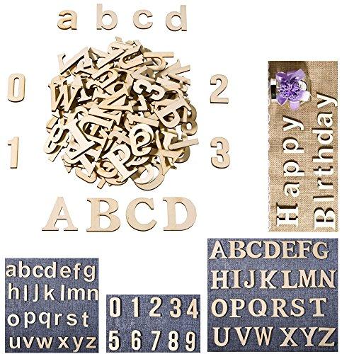 Großbuchstaben, Kleinbuchstaben, und Zahlen aus Holz für Kunst, zum Basteln, als Dekoration, DIY, Hochzeit, etc., 62Stück