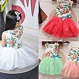 Moppi Niñas de Tulle arco flores imprimen vestido de flores falda tutú de la princesa